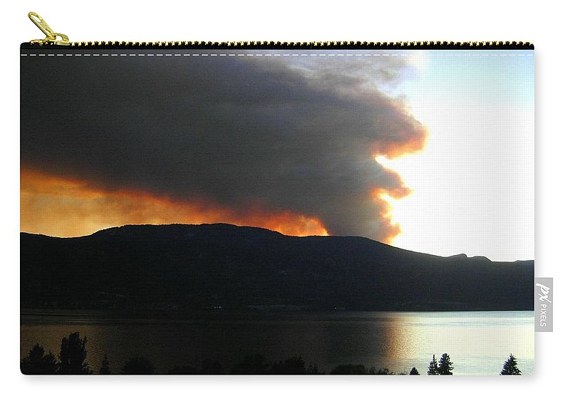 Forest Fire Carry-all Pouch featuring the photograph Terrace Mountain Fire by Will Borden