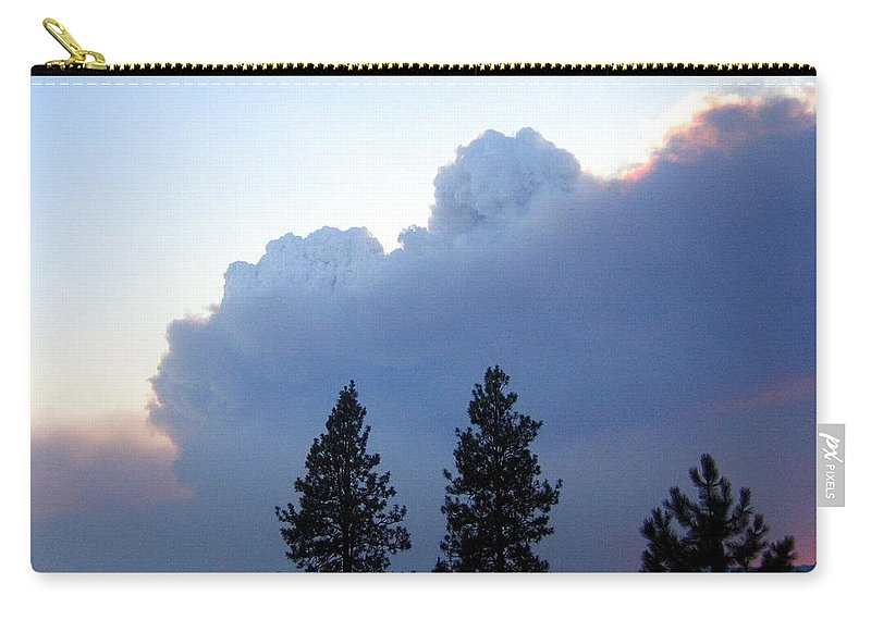 Terrace Mountain Smoke Carry-all Pouch featuring the photograph Terrace Mountain Smoke by Will Borden
