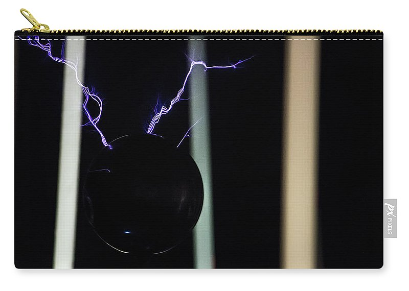 Tesla Coil Carry-all Pouch featuring the photograph Tesla Coil 5 by Tyson Kinnison