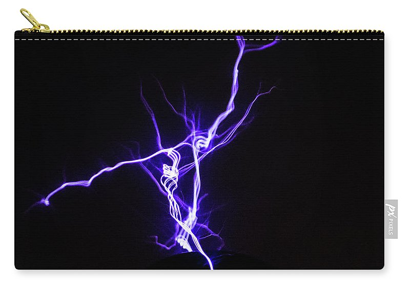 Tesla Coil Carry-all Pouch featuring the photograph Tesla Energy by Tyson Kinnison