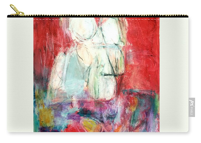 Red Carry-all Pouch featuring the painting Tete-a-tete by Patricia Byron