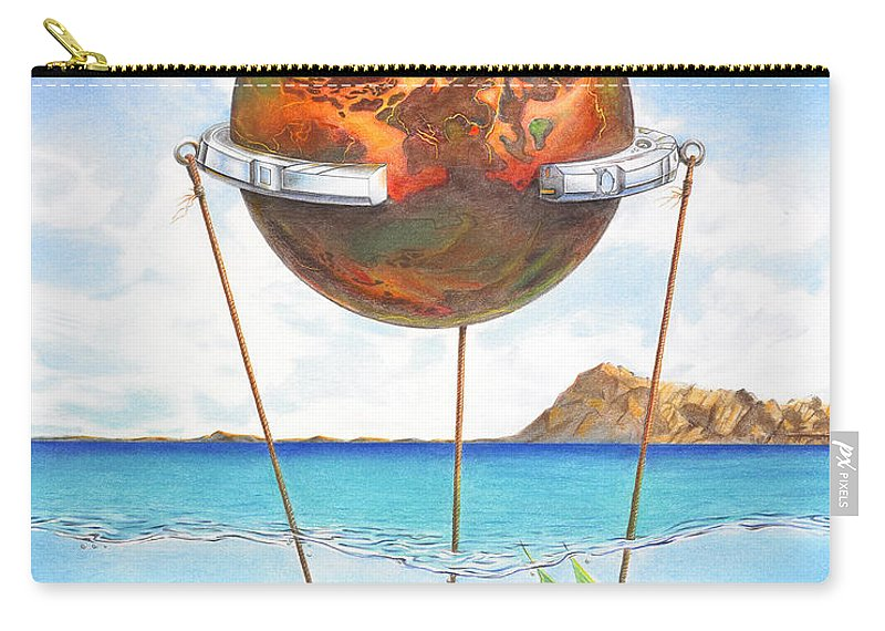 Surreal Carry-all Pouch featuring the painting Tethered Sphere by Melissa A Benson