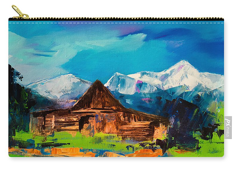 Barn Carry-all Pouch featuring the painting Teton Barn by Elise Palmigiani
