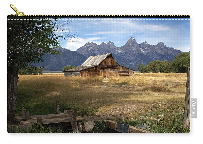 Grand Teton National Park Carry-all Pouch featuring the photograph Teton Barn by Marty Koch