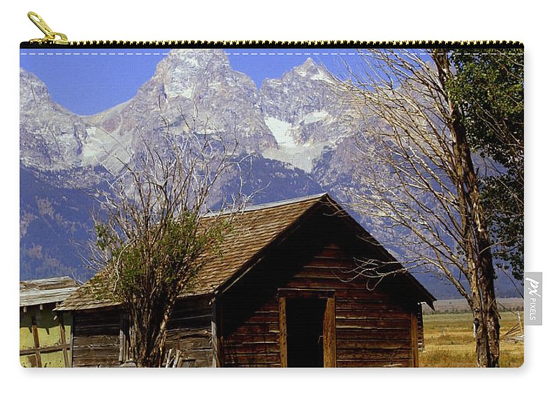 Grand Teton National Park Carry-all Pouch featuring the photograph Teton Cabin by Marty Koch