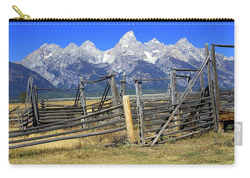 Grand Teton National Park Carry-all Pouch featuring the photograph Teton Corral 2 by Marty Koch