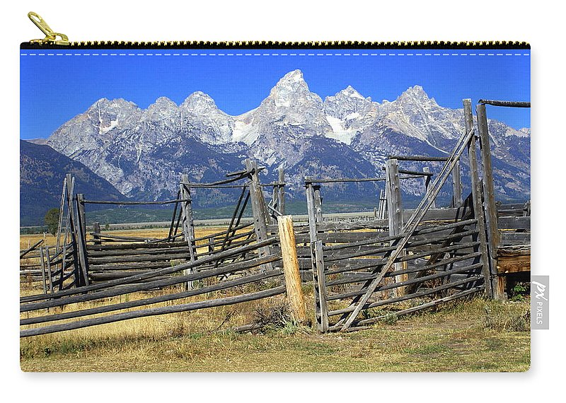 Grand Teton National Park Carry-all Pouch featuring the photograph Teton Corral by Marty Koch