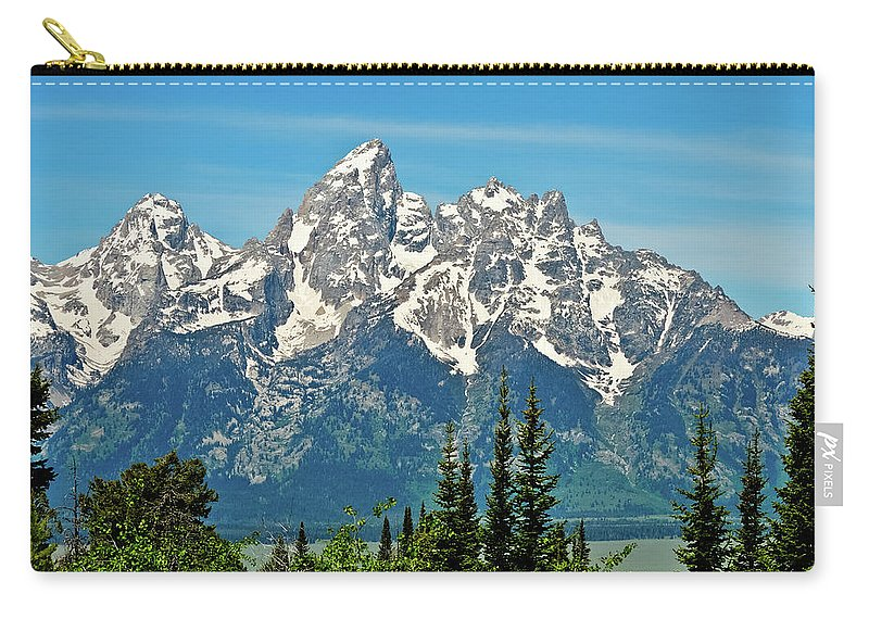 Grand Teton National Park Carry-all Pouch featuring the photograph Tetons Across The Valley by Greg Norrell