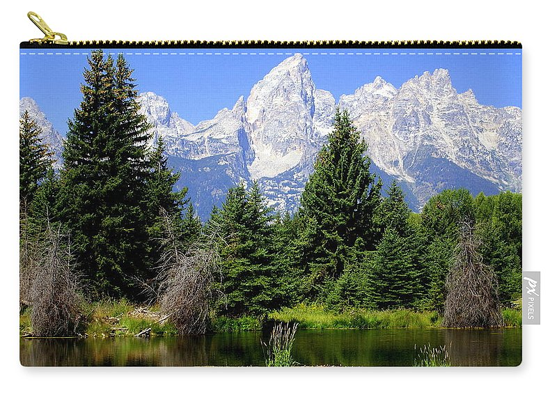 Grand Teton National Park Carry-all Pouch featuring the photograph Tetons by Marty Koch