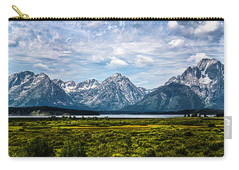 The Grand Tetons Carry-all Pouch featuring the photograph Tetons - Panorama by Shane Bechler