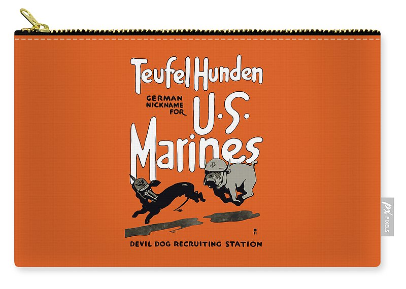 Marine Corps Carry-all Pouch featuring the painting Teufel Hunden - German Nickname For Us Marines by War Is Hell Store