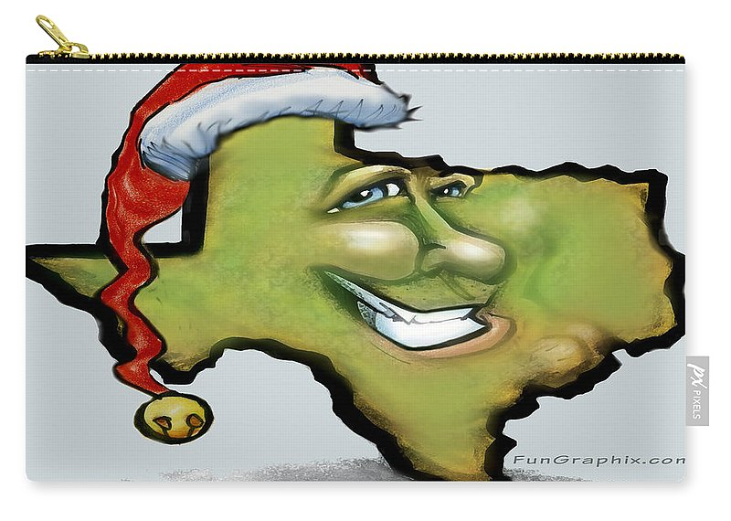 Texas Carry-all Pouch featuring the greeting card Texas Christmas Greetings by Kevin Middleton
