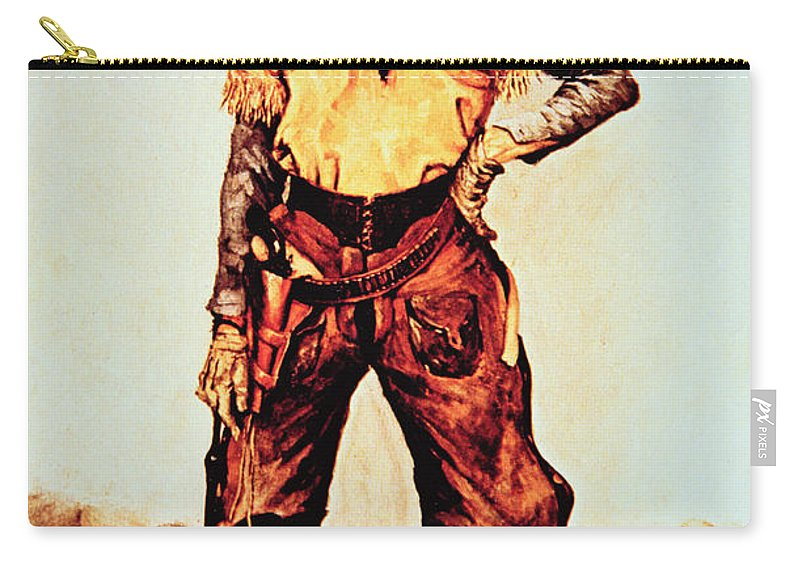 Texas Cowboy Carry-all Pouch featuring the painting Texas Cowboy by Frederic Remington
