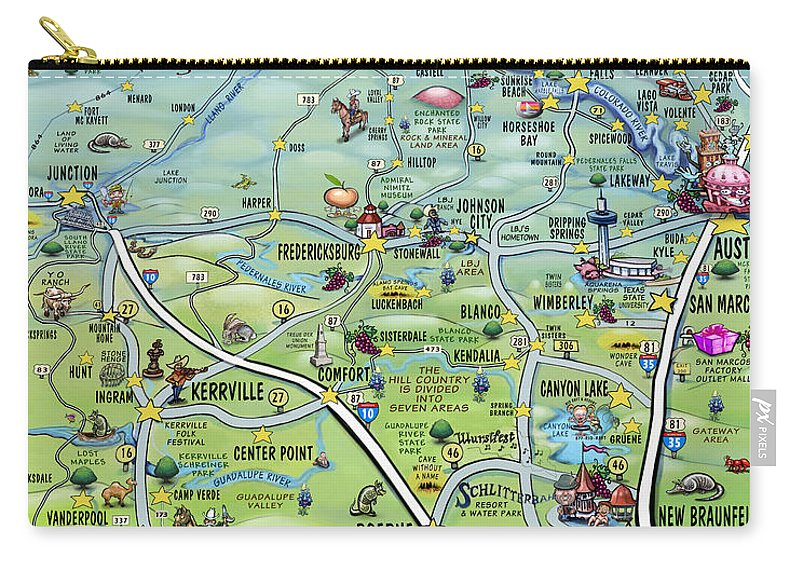 Texas Hill Country Cartoon Map Carry-all Pouch for Sale by Kevin ...