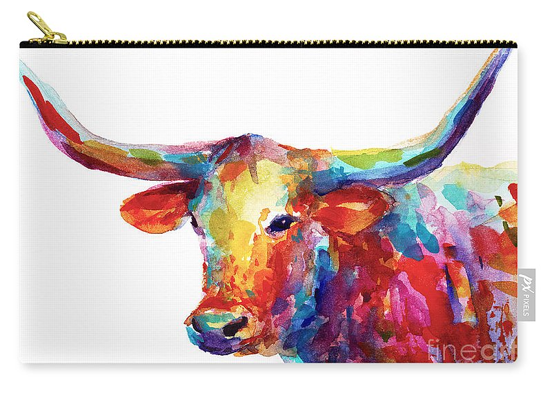 Long Horn Carry-all Pouch featuring the painting Texas Longhorn art by Svetlana Novikova