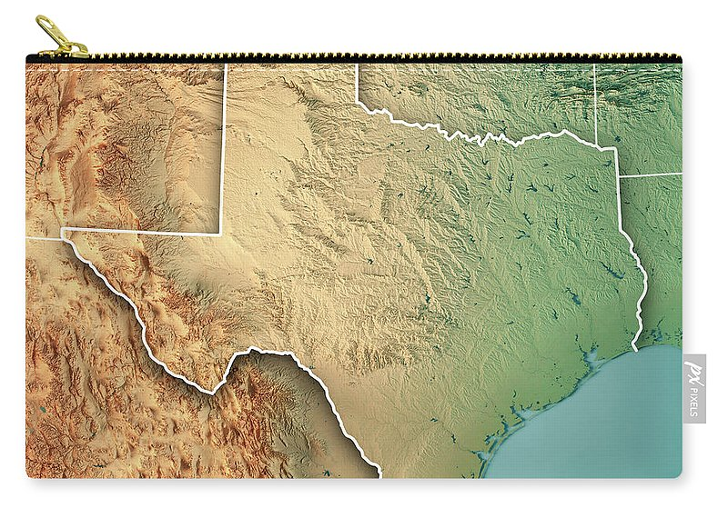 3d Map Of Texas.Texas State Usa 3d Render Topographic Map Border Carry All Pouch