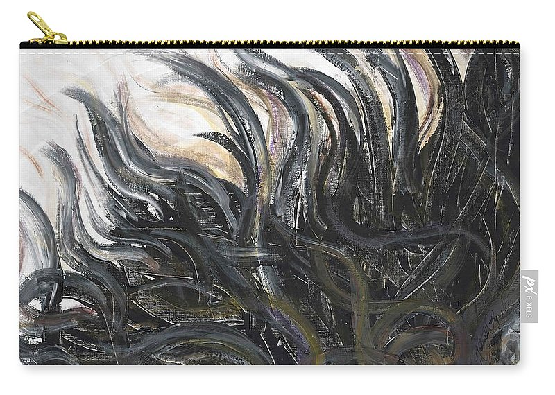 Texture Carry-all Pouch featuring the painting Textured Black Sunflower by Nadine Rippelmeyer