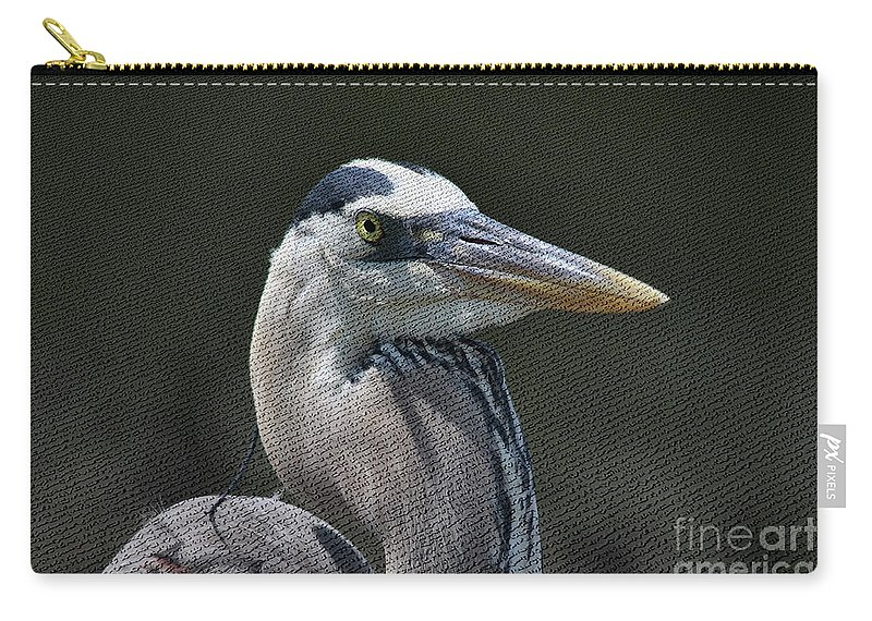 Blue Heron Carry-all Pouch featuring the photograph Textured Blue by Deborah Benoit