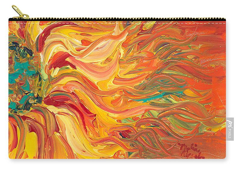 Sunjflower Carry-all Pouch featuring the painting Textured Fire Sunflower by Nadine Rippelmeyer