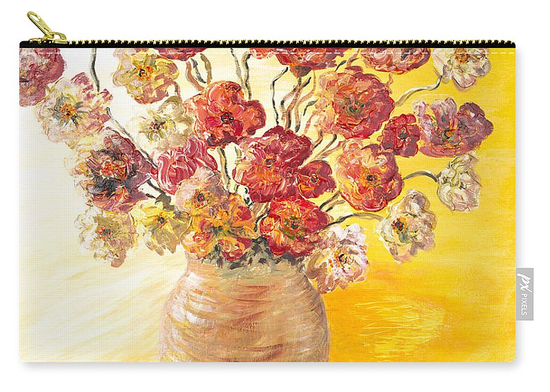 Flowers Carry-all Pouch featuring the painting Textured Flowers In A Vase by Nadine Rippelmeyer