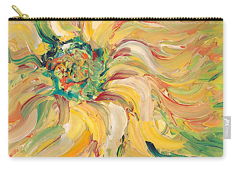 Texture Carry-all Pouch featuring the painting Textured Green Sunflower by Nadine Rippelmeyer