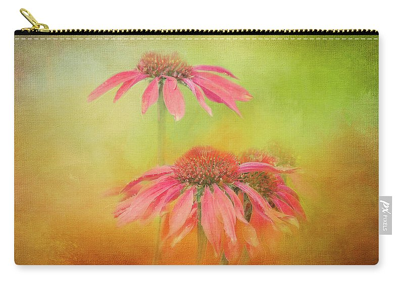 Photography Carry-all Pouch featuring the digital art Textured Orange Daisies by Terry Davis