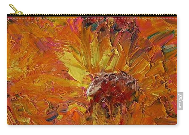 Sunflowers Carry-all Pouch featuring the painting Textured Sunflowers by Nadine Rippelmeyer
