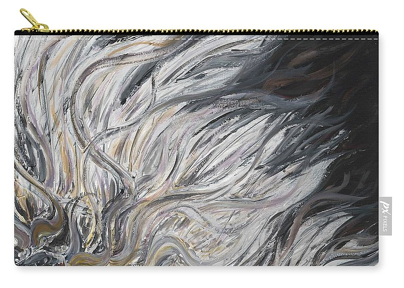 White Carry-all Pouch featuring the painting Textured White Sunflower by Nadine Rippelmeyer