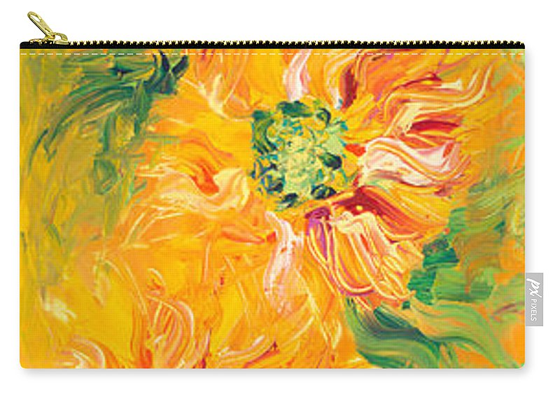 Yellow Carry-all Pouch featuring the painting Textured Yellow Sunflowers by Nadine Rippelmeyer