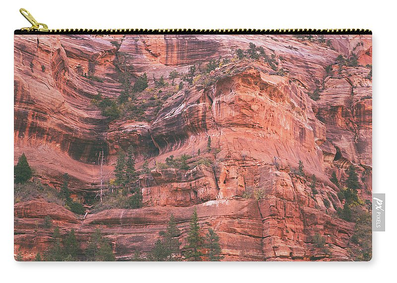 Kolob Canyon Carry-all Pouch featuring the photograph Textures Of Zion by Kunal Mehra