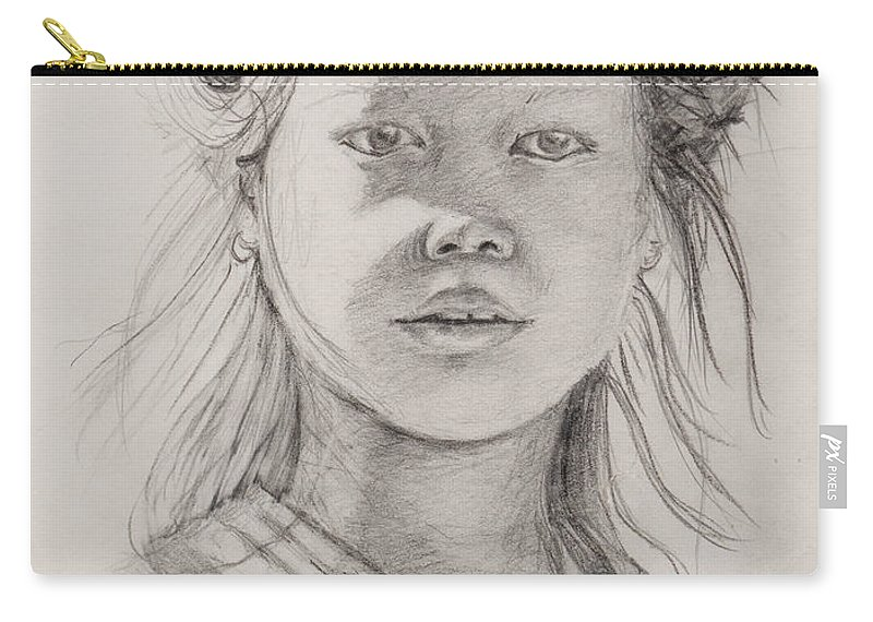 Portrait Carry-all Pouch featuring the drawing Thai Beauty by Nadine Rippelmeyer
