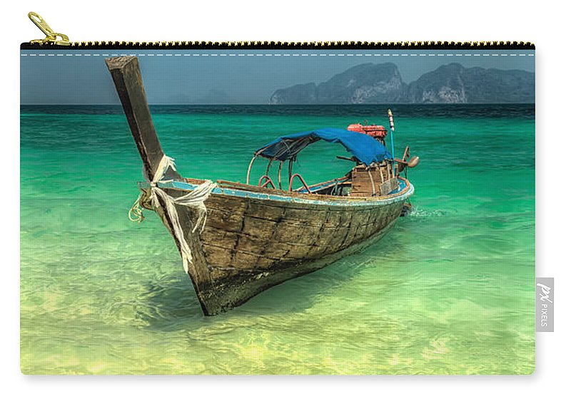 Boat Carry-all Pouch featuring the photograph Thai Longboat by Adrian Evans