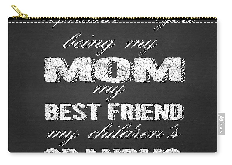 Thank You Mom Carry-all Pouch featuring the painting Thank You Mom Chalkboard Typography by Georgeta Blanaru