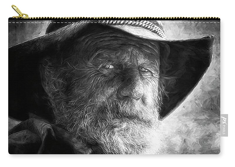 Male Carry-all Pouch featuring the digital art That Ol' Devil Ain't Caught Me Yet. by Rick Wiles