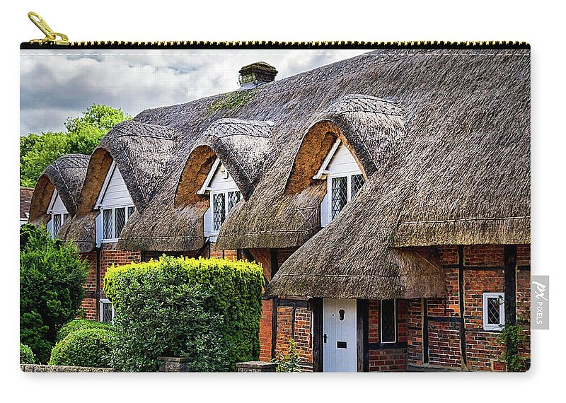 Cottage Carry-all Pouch featuring the photograph Thatched Cottages In Chawton 2 by Shirley Mitchell