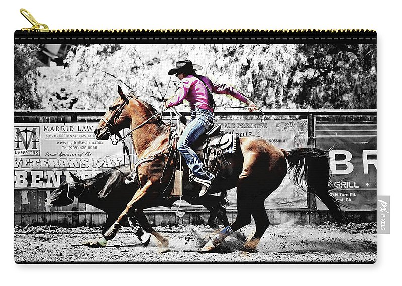 Black And White Carry-all Pouch featuring the photograph That's How It's Done by Sandra Watkins