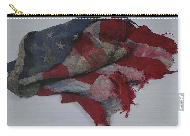 911 Carry-all Pouch featuring the photograph The 9 11 W T C Fallen Heros American Flag by Rob Hans