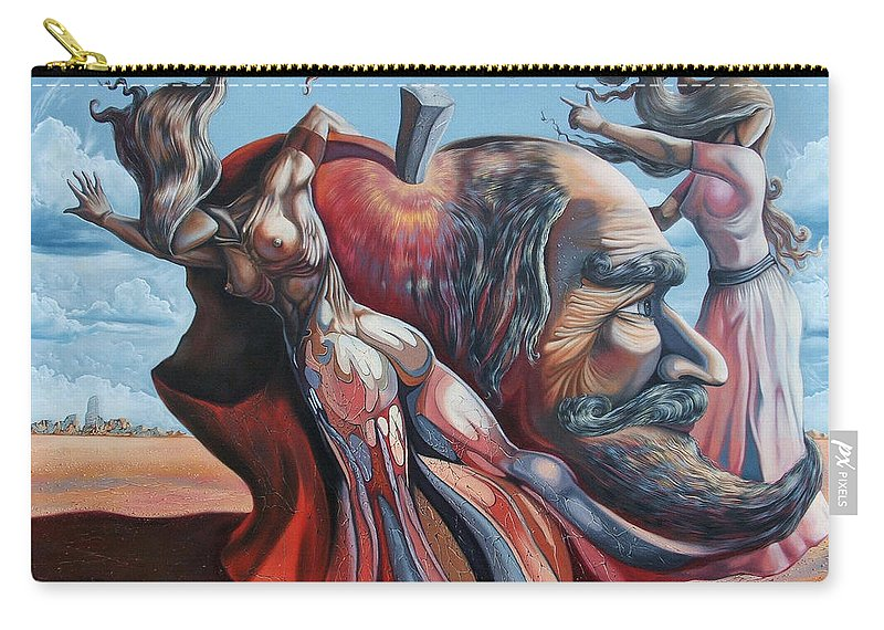 Surrealism Carry-all Pouch featuring the painting The Adam-eve Delusion by Darwin Leon