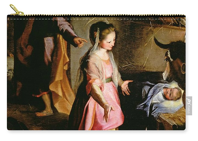Nativity Carry-all Pouch featuring the painting The Adoration Of The Child by Federico Fiori Barocci or Baroccio