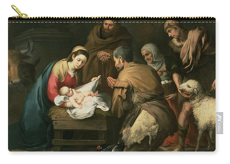 Adoration Carry-all Pouch featuring the painting The Adoration Of The Shepherds by Bartolome Esteban Murillo