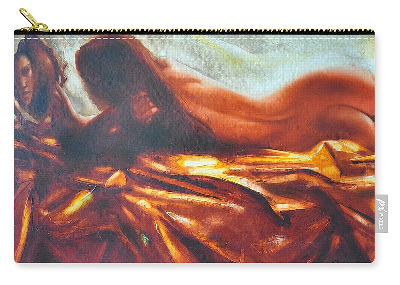 Painting Carry-all Pouch featuring the painting The Amber Speck Of Light by Sergey Ignatenko