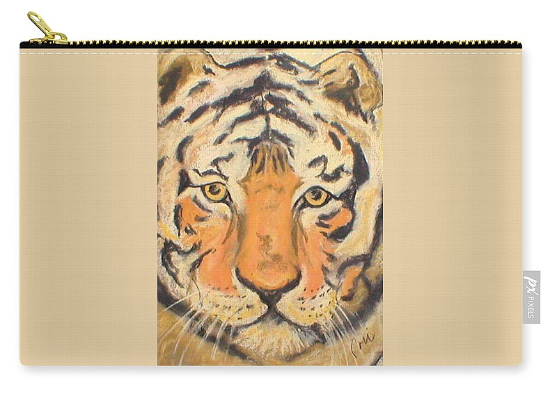 Pastel Carry-all Pouch featuring the drawing The Amber Stare by Cori Solomon