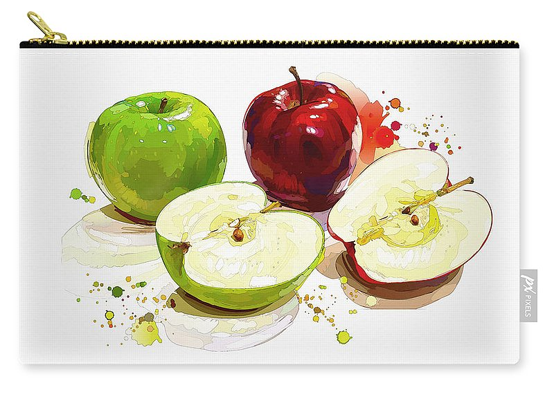 Home Art & Collectibles Carry-all Pouch featuring the digital art The Apple Focus by Don Kuing