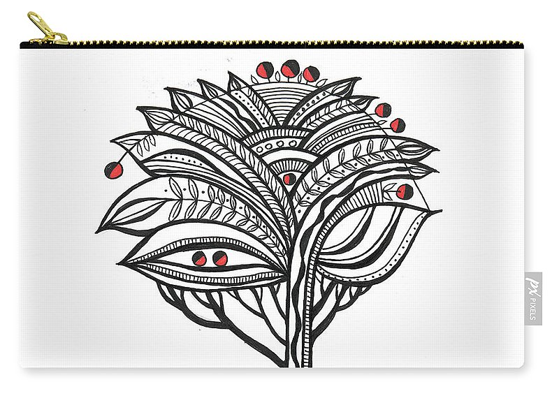 Abstract Carry-all Pouch featuring the drawing The Apple Tree by Aniko Hencz