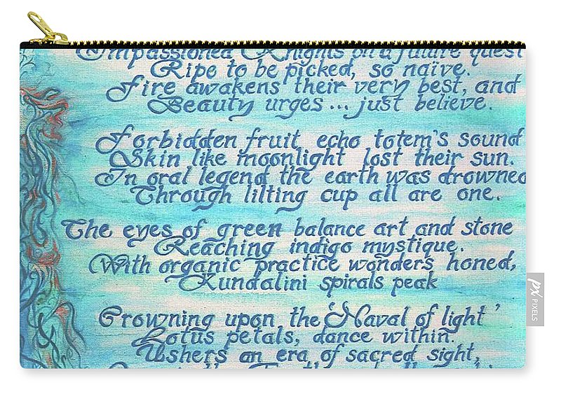 Painted Poetry Carry-all Pouch featuring the painting The Aquarian Philosophy by Jennifer Christenson