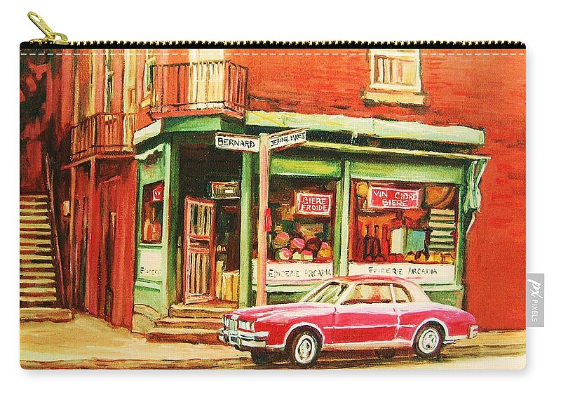 Montreal Carry-all Pouch featuring the painting The Arcadia Five And Dime Store by Carole Spandau