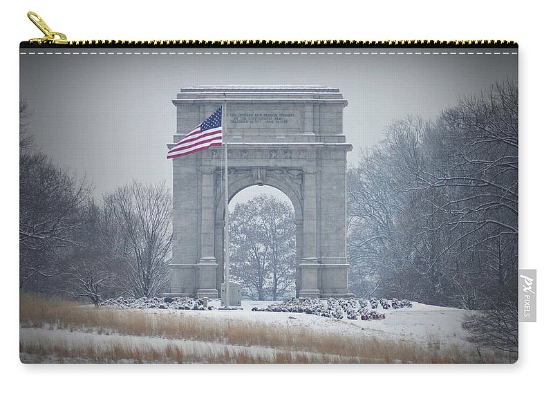 Arch Carry-all Pouch featuring the photograph The Arch At Valley Forge by Bill Cannon