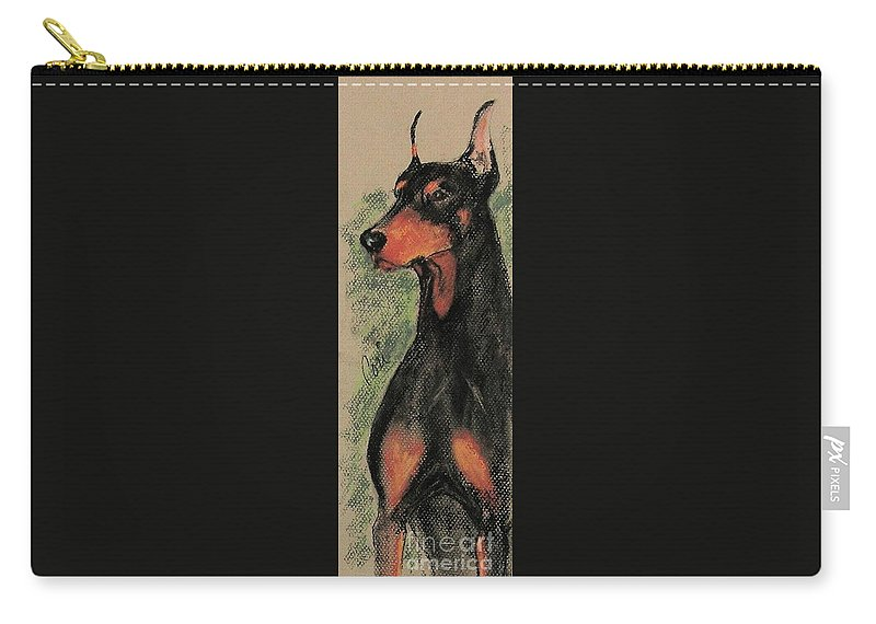 Doberman Pinscher Carry-all Pouch featuring the drawing The Aristocrat by Cori Solomon