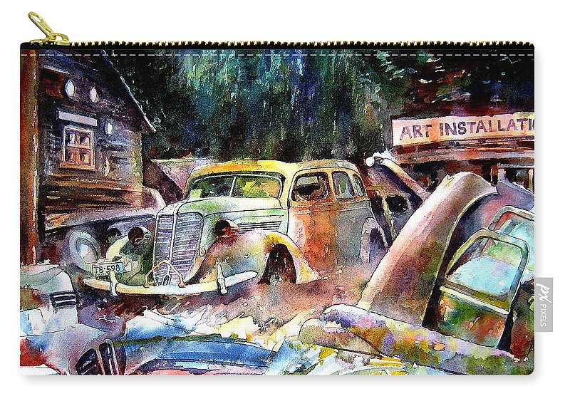 Cars Carry-all Pouch featuring the painting The Art Installation by Ron Morrison