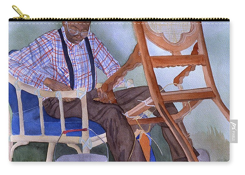 Portrait Carry-all Pouch featuring the painting The Art of Caning by Jean Blackmer